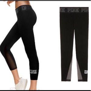 PINK Nation VS Black mesh leggings yoga  MEDIUM